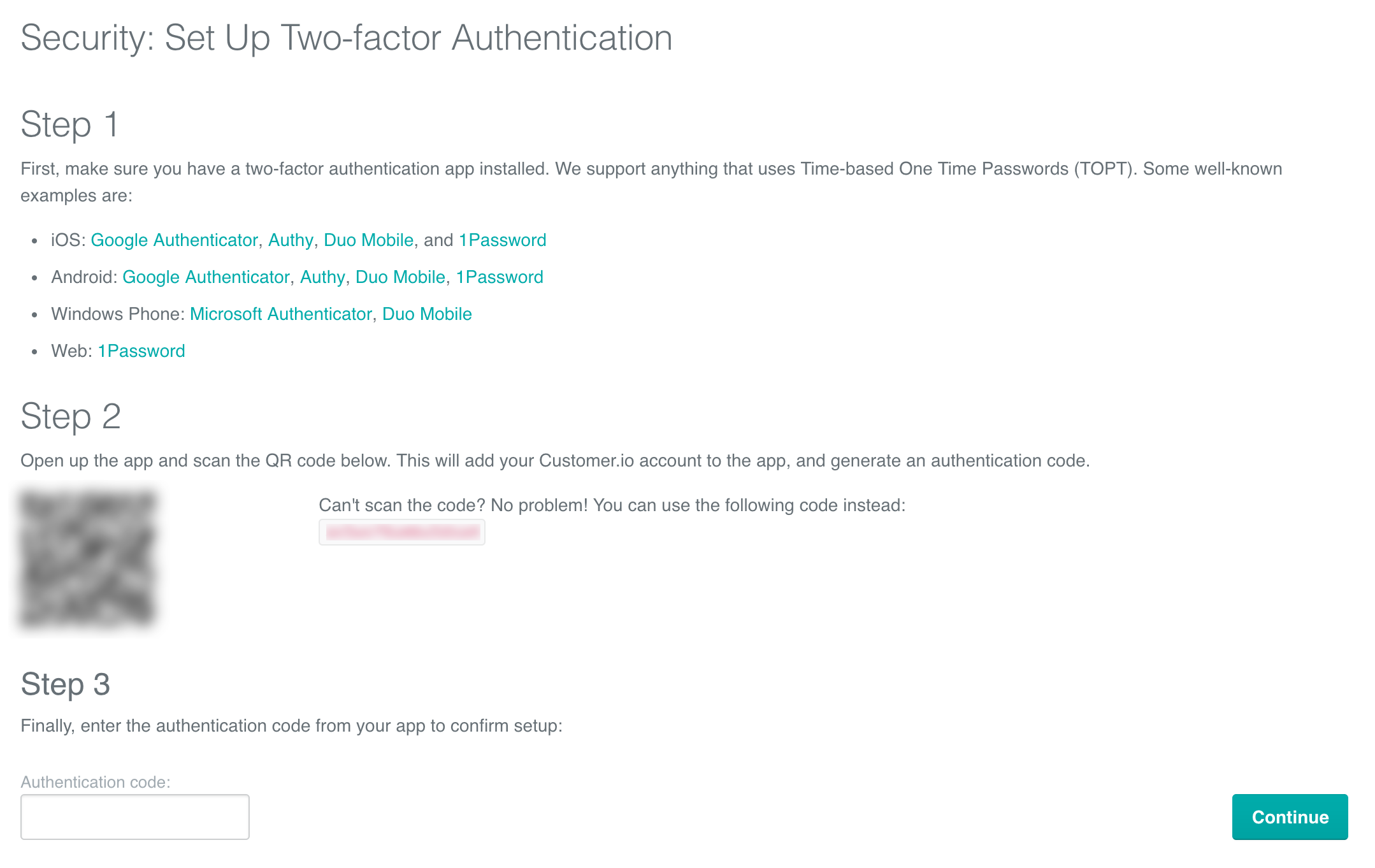 Two-factor authentication: Scan the QR code