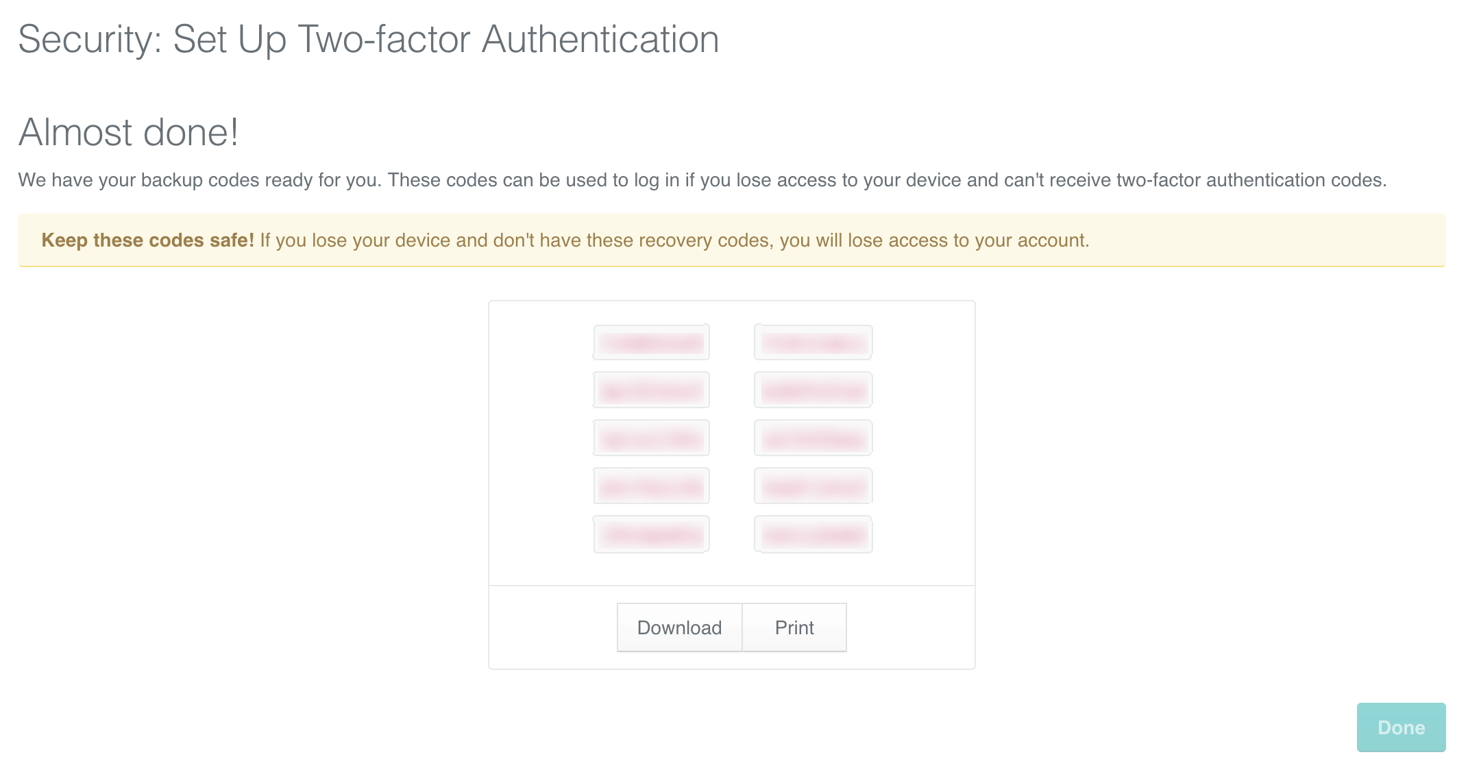 Two-factor authentication: Backup codes