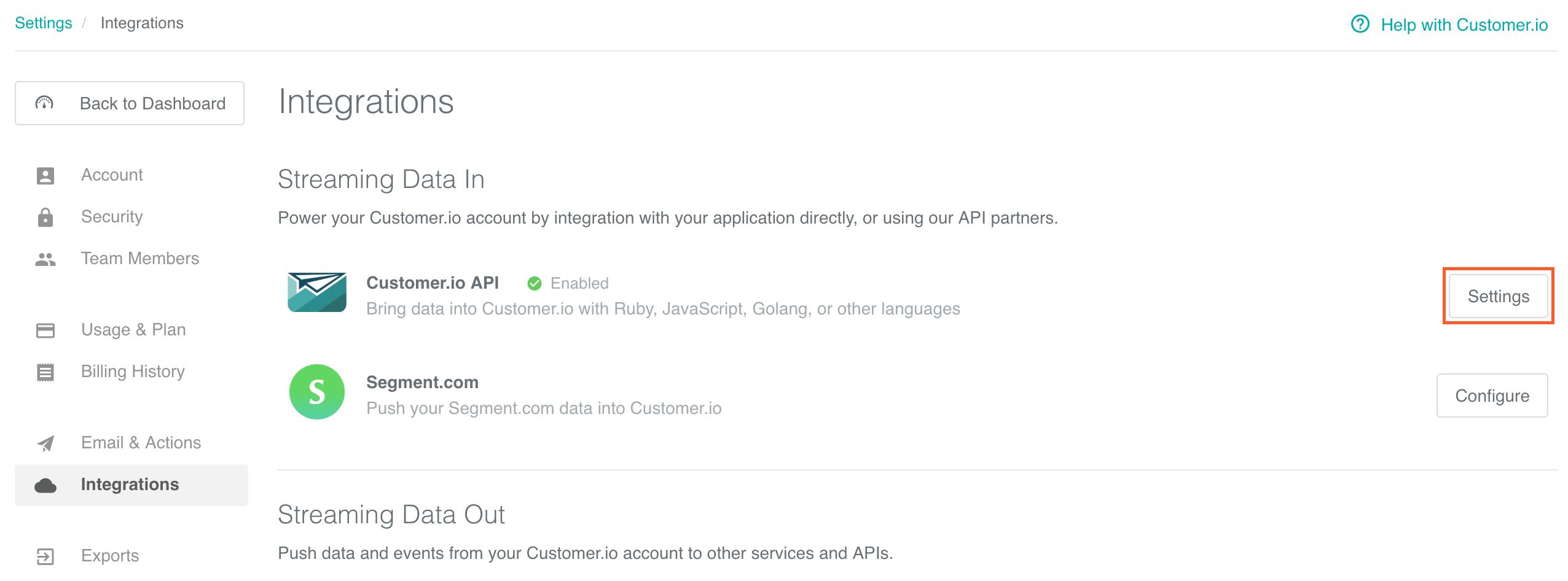 API Key/Site ID -- Integrations