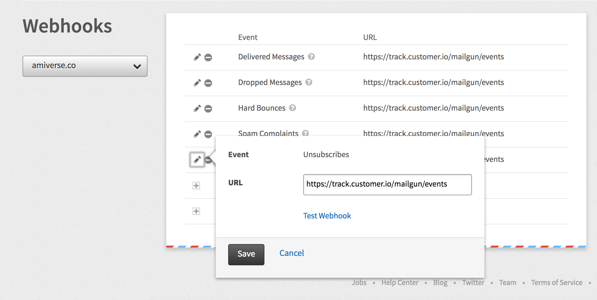 Example webhook config