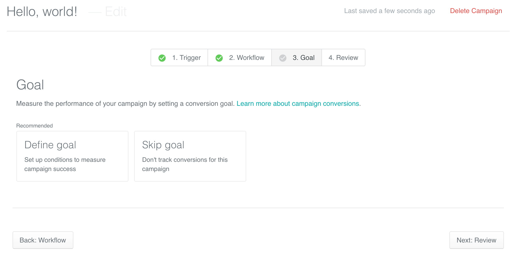 Overview Conversion Goal