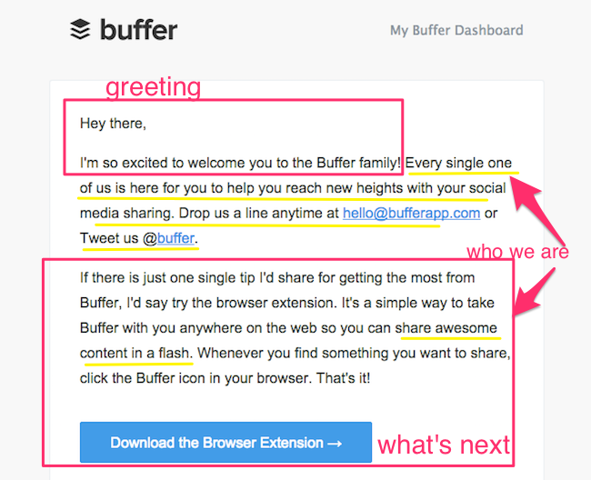 Buffer welcome email part 1