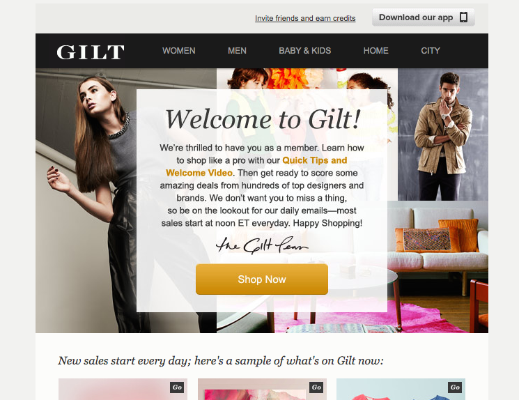 Gilt welcome email