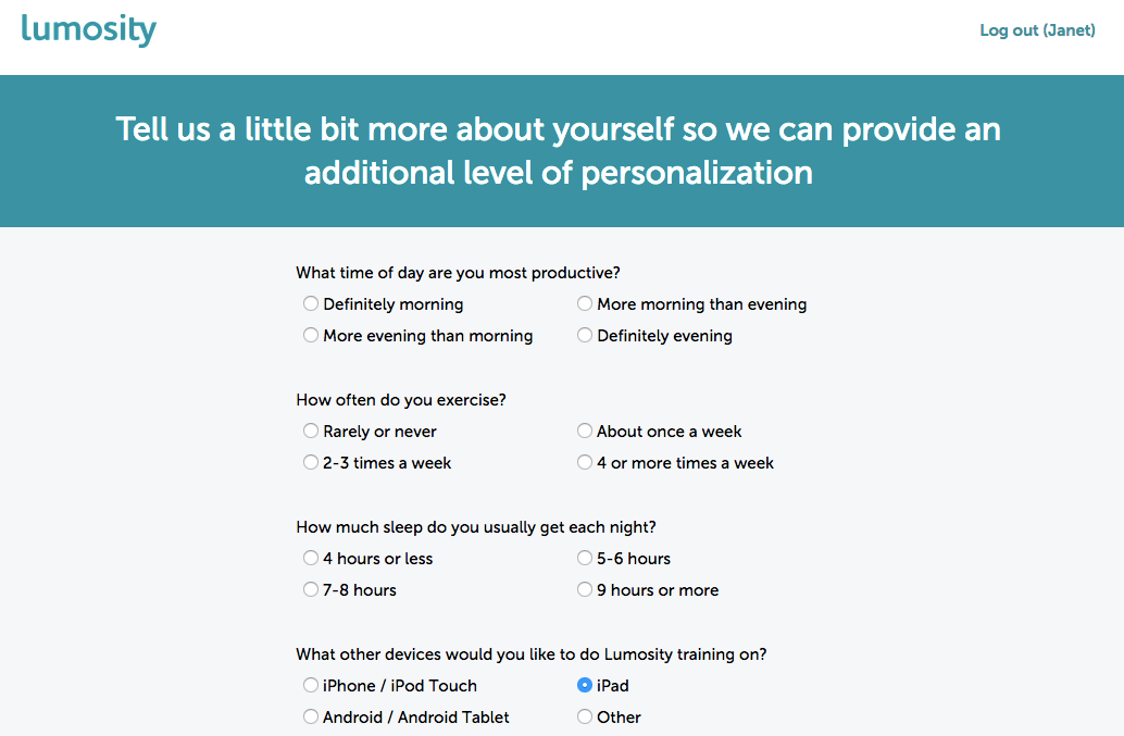 Lumosity extra questions signup flow