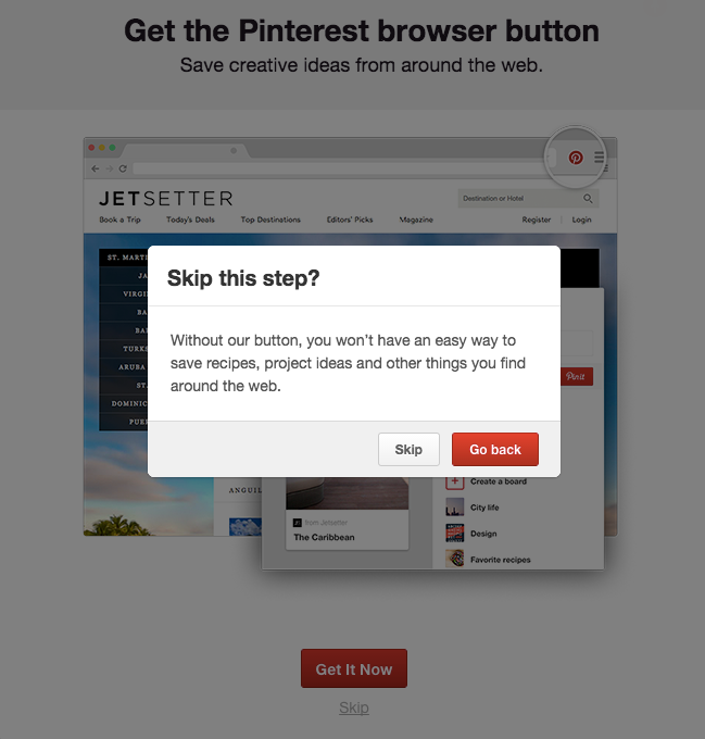 Pinterest signup insists on downloading button