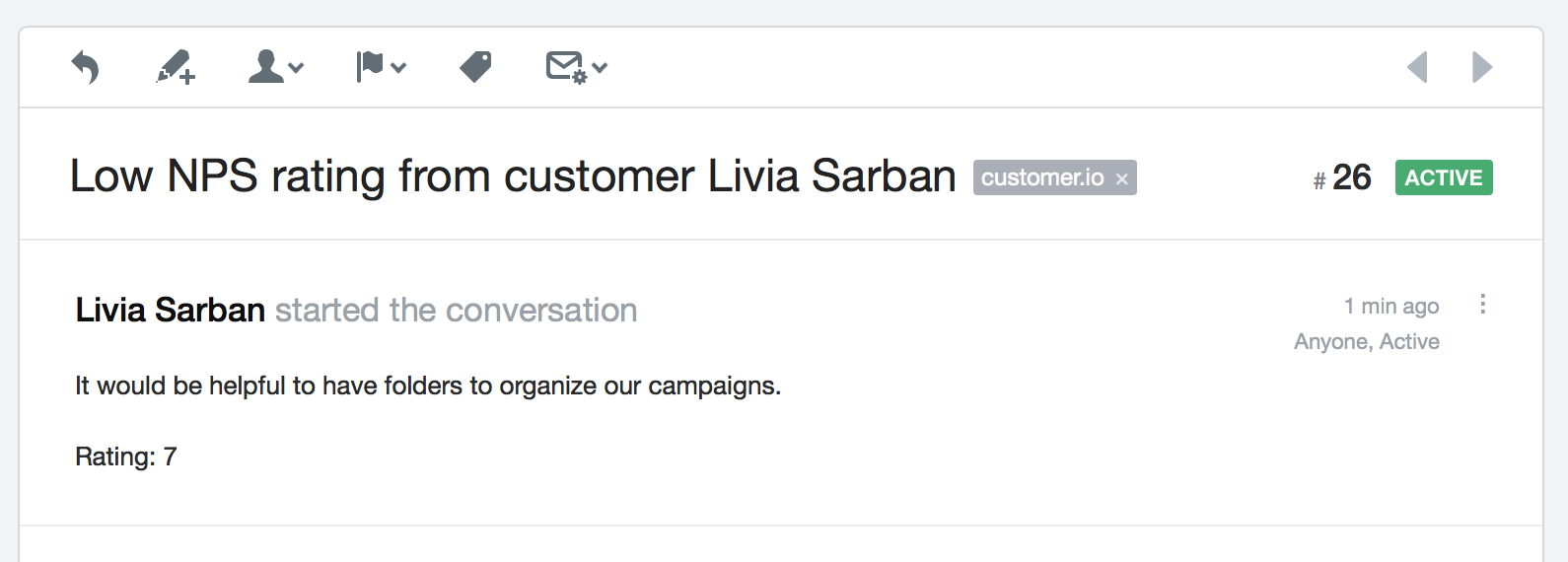 Customer.io webhook actions Help Scout conversation
