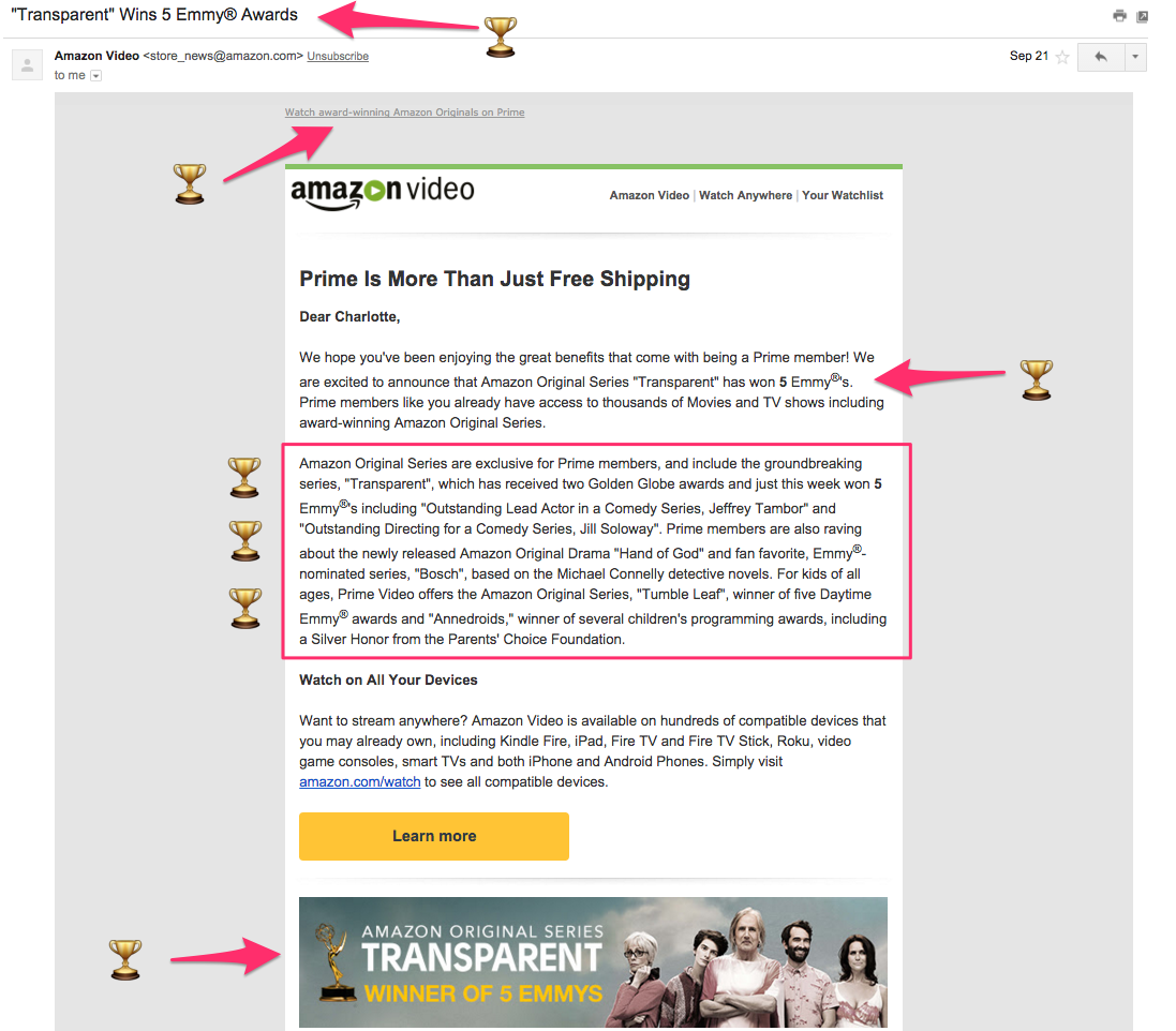 Amazon's Emmy win announcement email