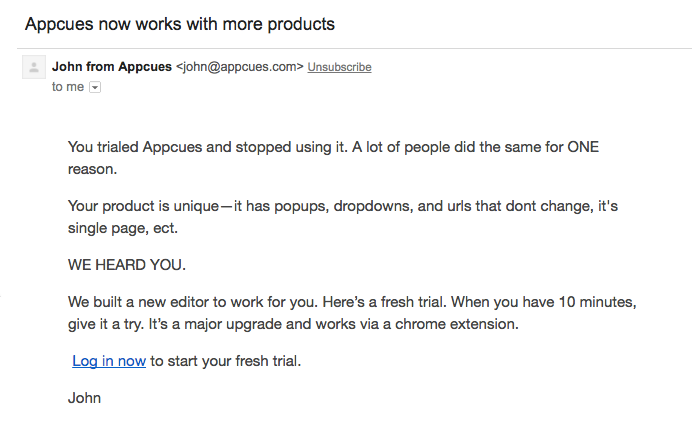 Appcues winback email
