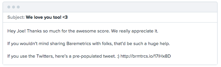 Baremetrics NPS promoter followup message