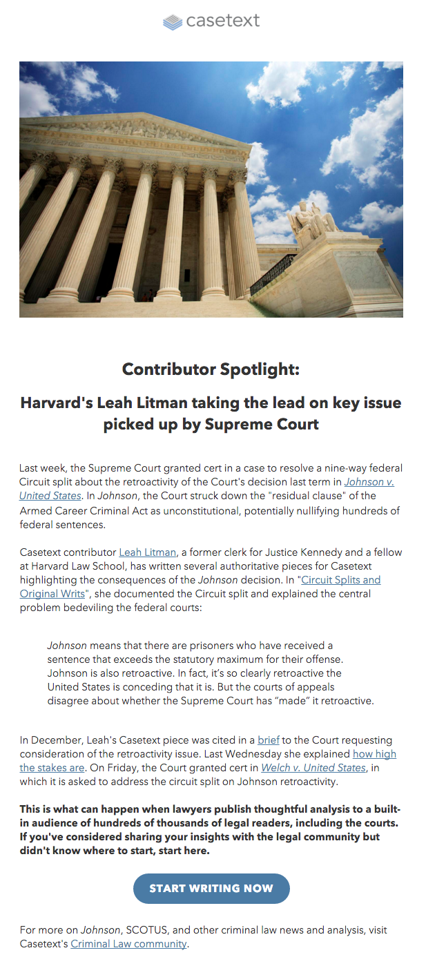 The Message Describes How Leah's Casetext Piece Was Cited In A Legal Brief  To The Supreme
