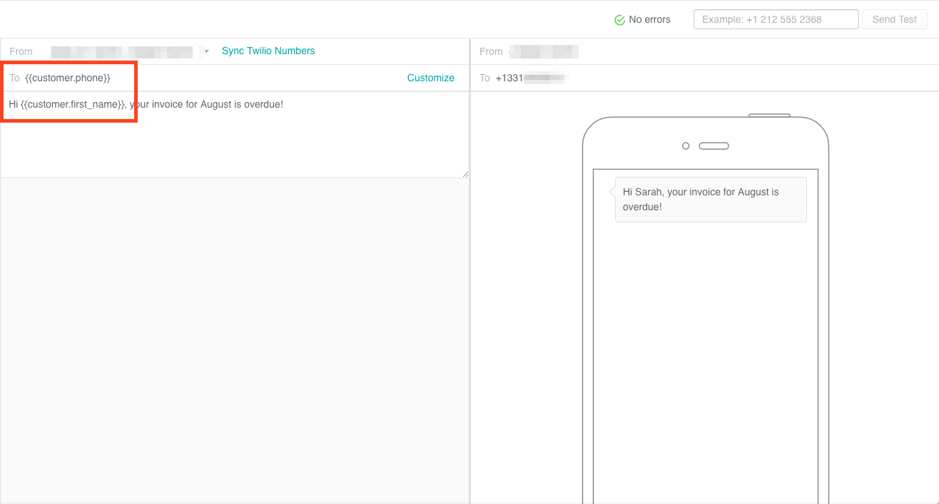 Twilio campaign - writing an SMS to a customer with a phone attribute