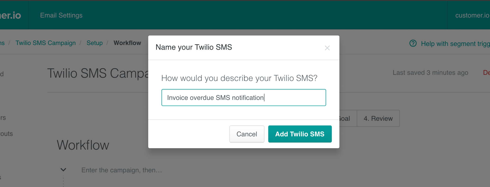 Twilio campaign - naming your SMS