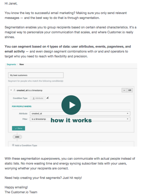customer.io onboarding email with video