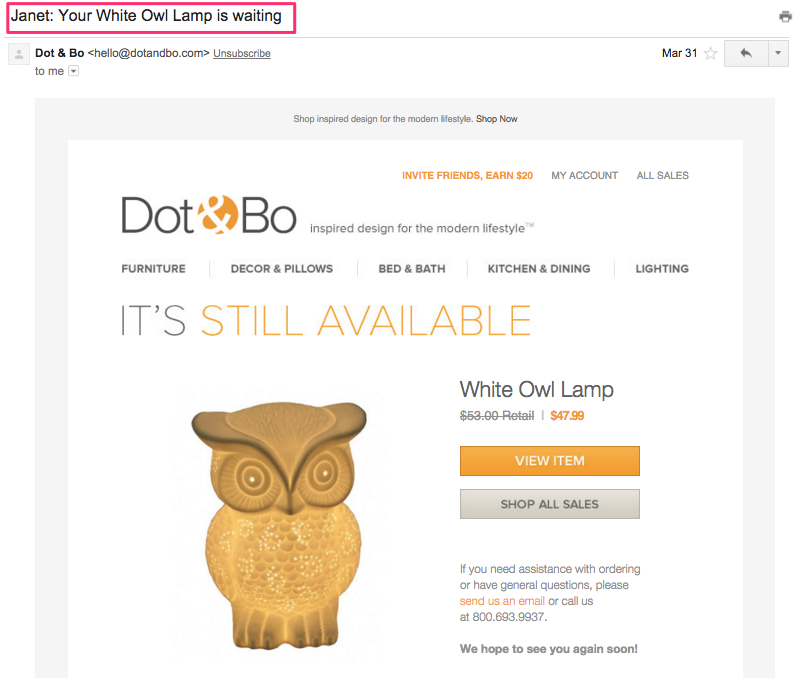 Dot & Bo - this lamp is already yours email