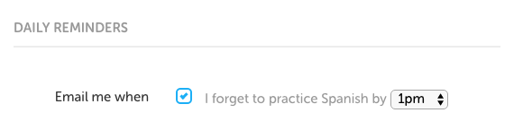 Duolingo daily reminder settings