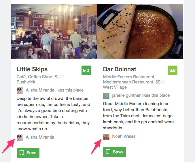 Foursquare reviews by real people