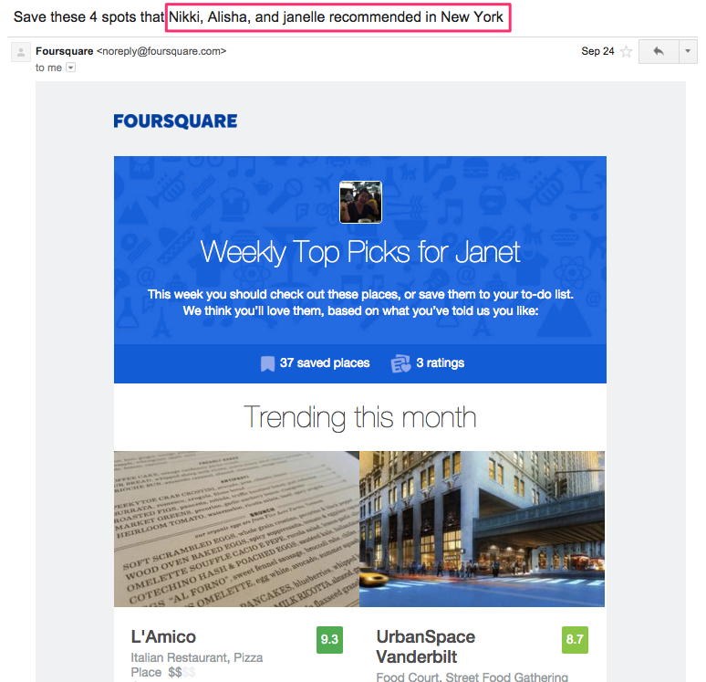 Foursquare social validation email