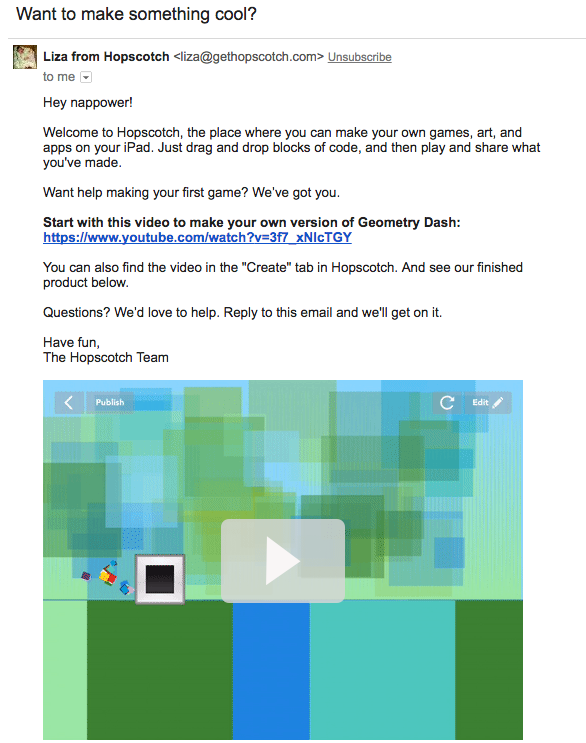 Hopscotch getting started email