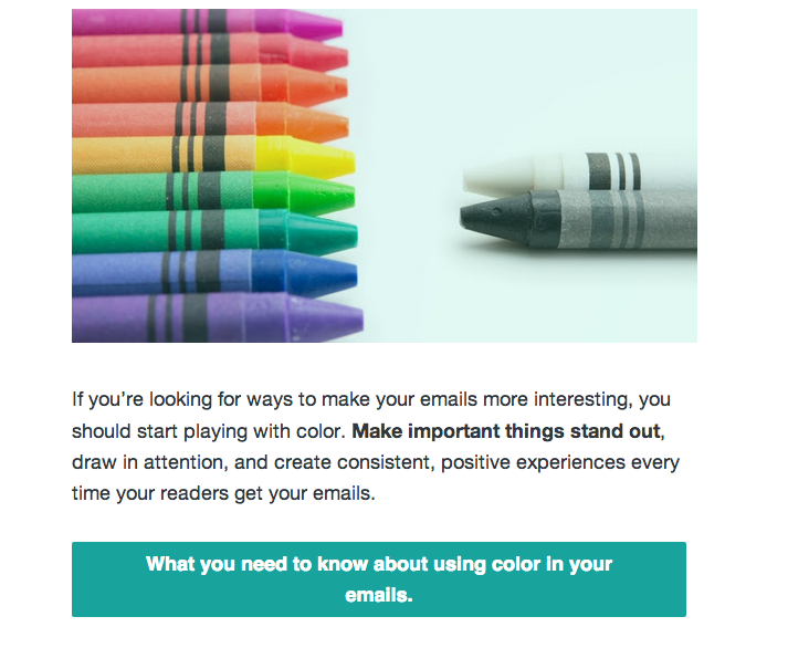 Using color in your emails bad newsletter content example