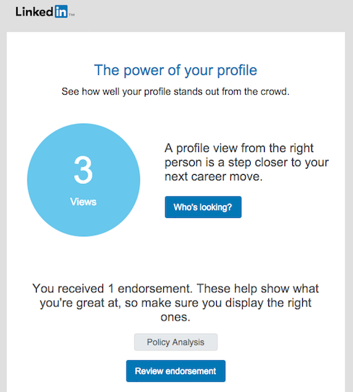 LinkedIn's triggered account activity email