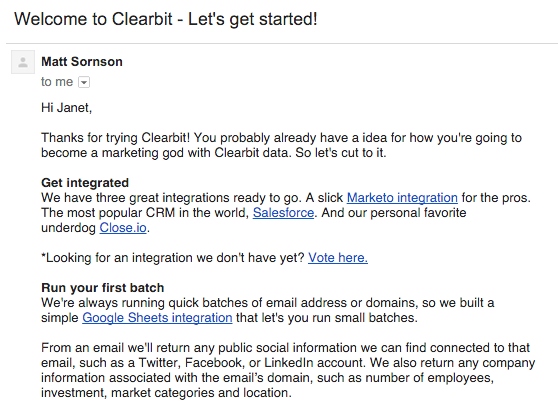 Clearbit's marketer-specific welcome email