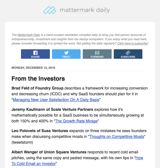 Mattermark daily newsletter