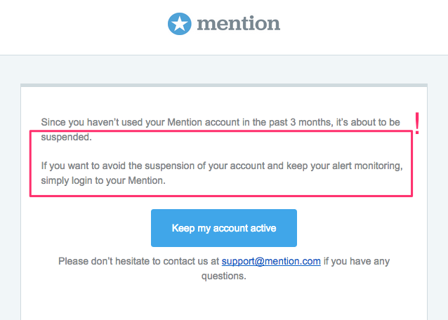 Mention trial retention email