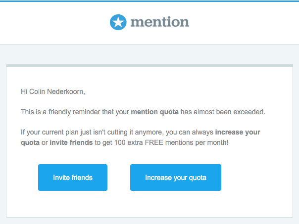 Mention's triggered referral email