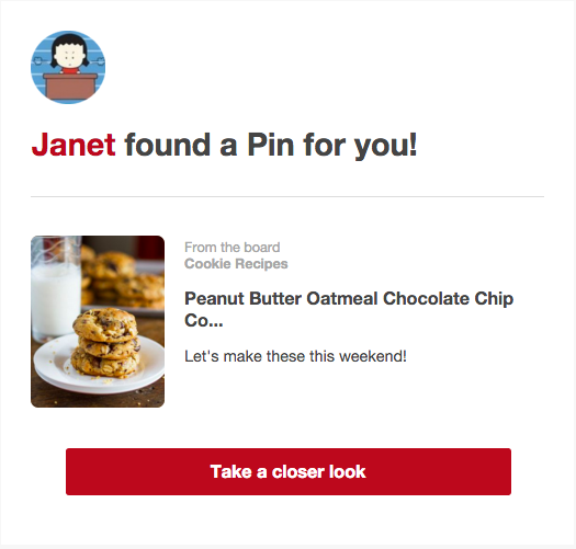 Pinterest new notification email
