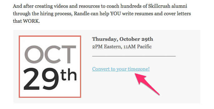 Skillcrush webinar invitation timezone empathy