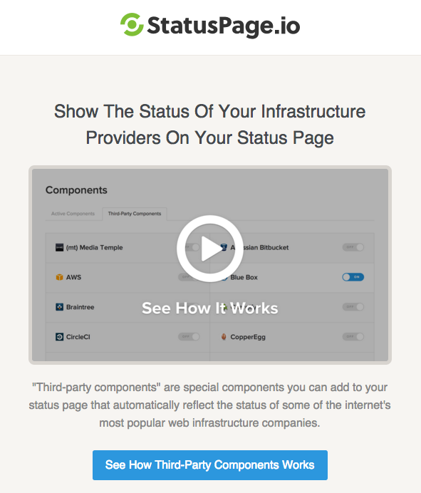 StatusPage.io's use of video in onboarding email