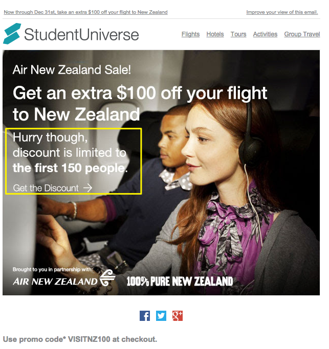 Student Universe's scarcity principle email