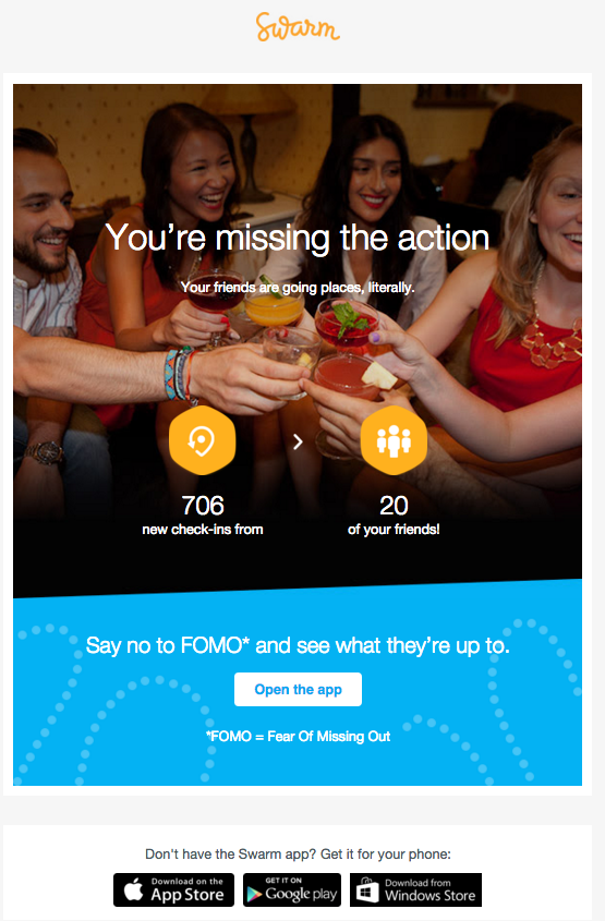 Swarm provokes FOMO with this engagement email