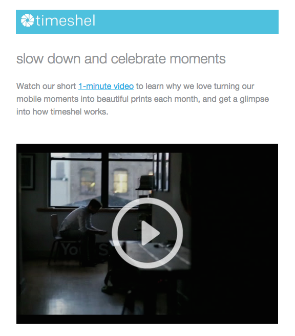 Timeshel video onboarding email