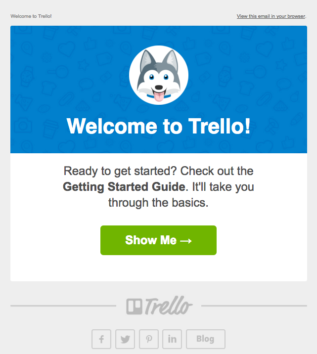 Trello welcome email with Taco