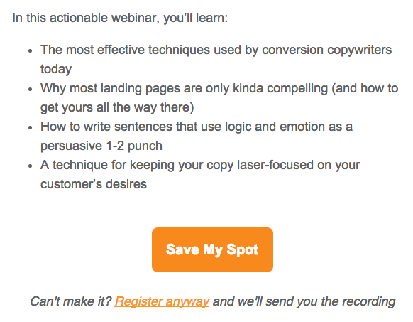 Unbounce webinar invitation describing solution to be learned