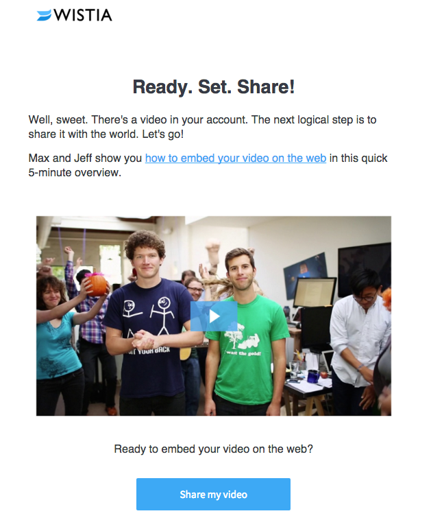Wistia onboarding email with great video thumbnail