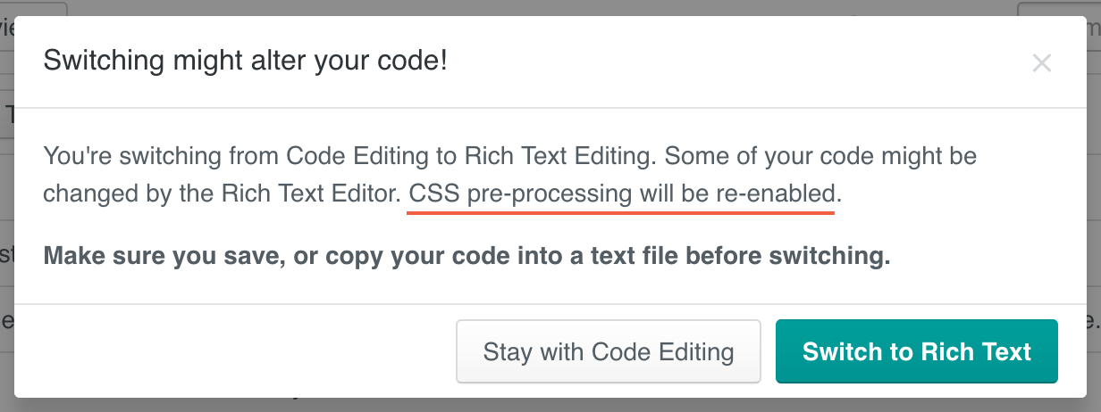 Premailer will be enabled once you return to rich text editing