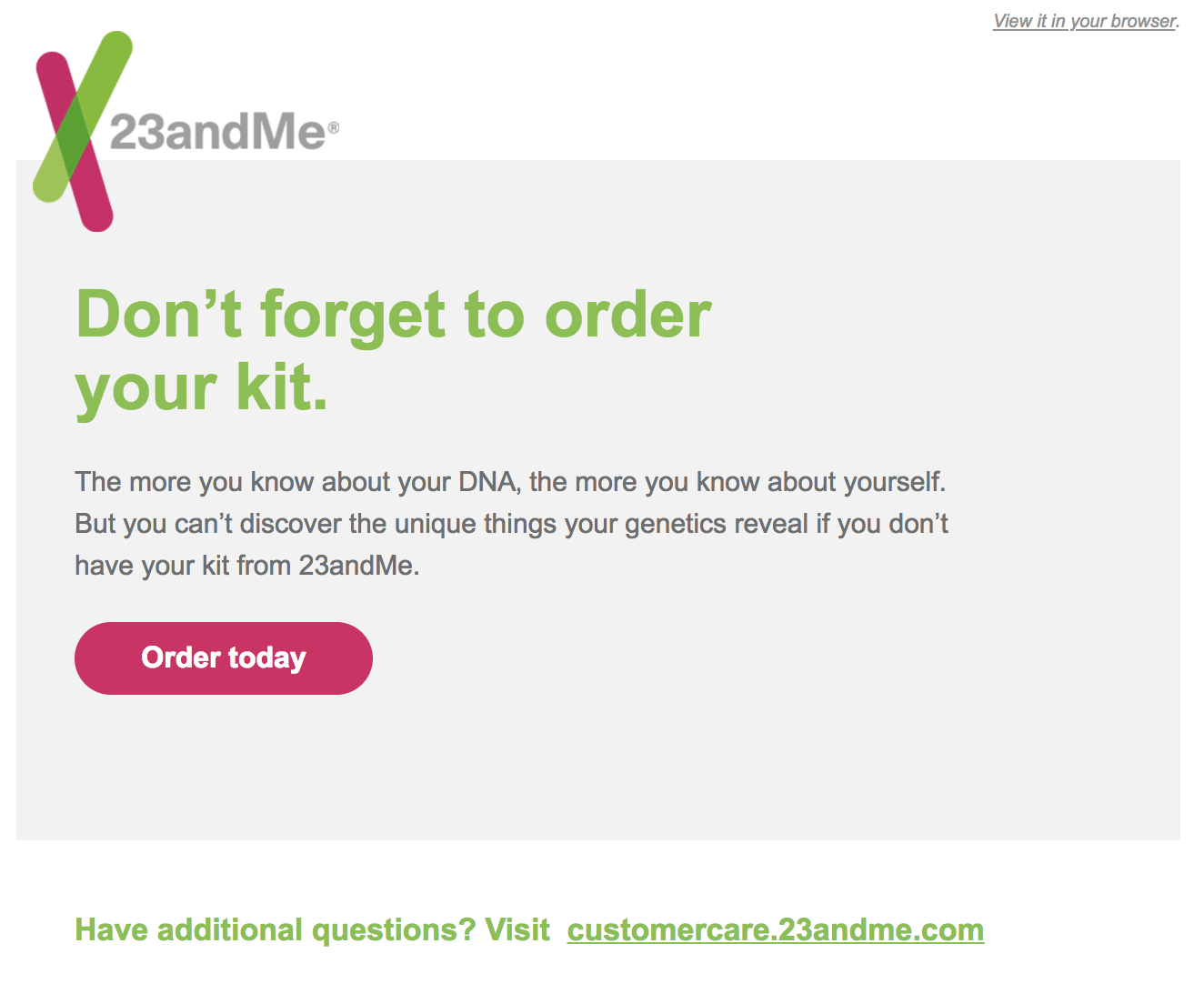 best transactional emails 23andMe