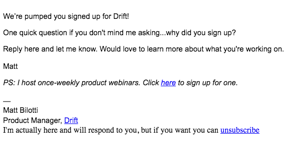 Drift personal checkup email