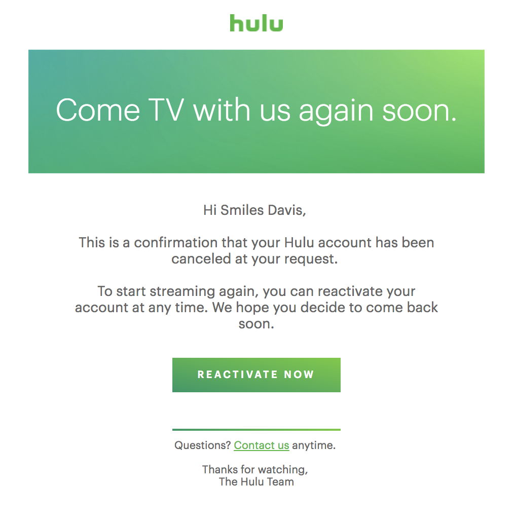 best transactional emails Hulu