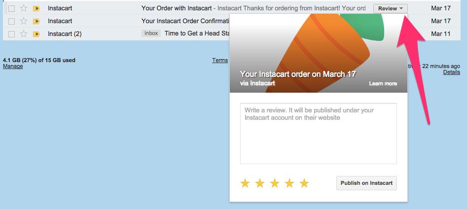 Instacart review from inbox