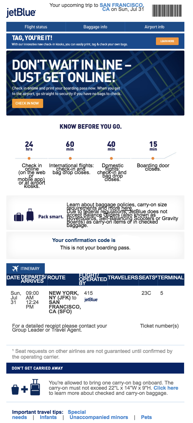 best transactional emails JetBlue