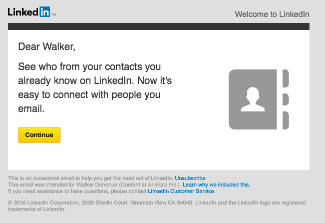 LinkedIn onboarding email
