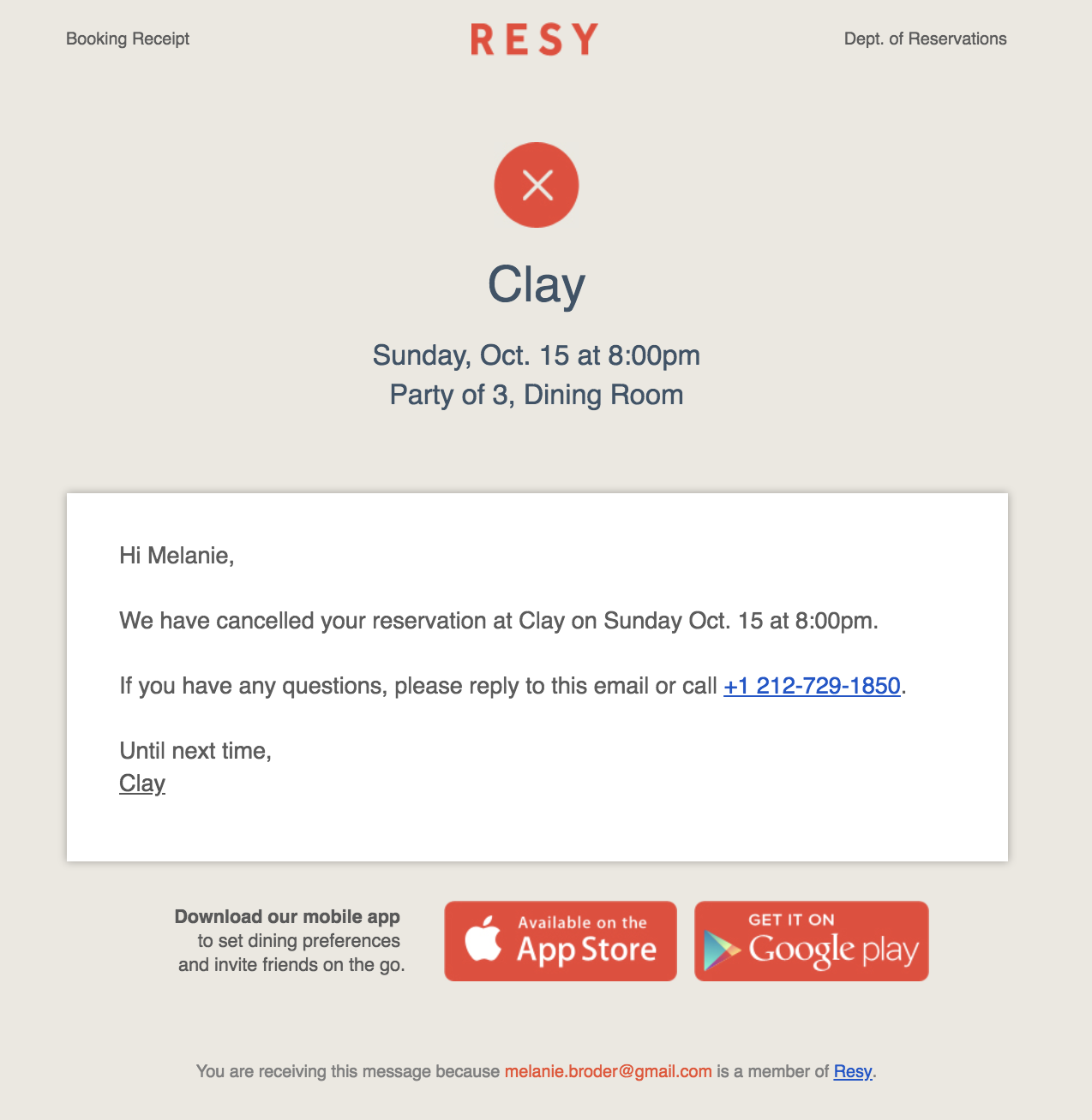 best transactional emails Resy