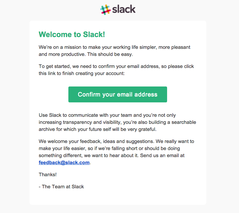 Slack confirmation email example