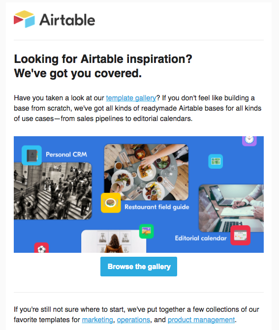 Airtable onboarding email