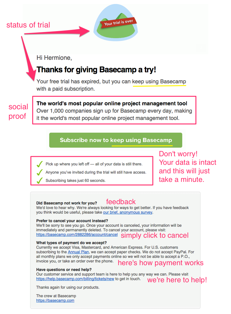 Basecamp upgrade email