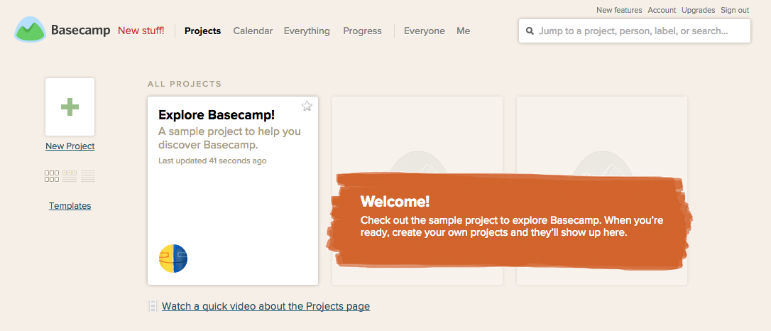 Basecamp sample project listing