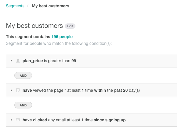 customer.io best customers segmenation example